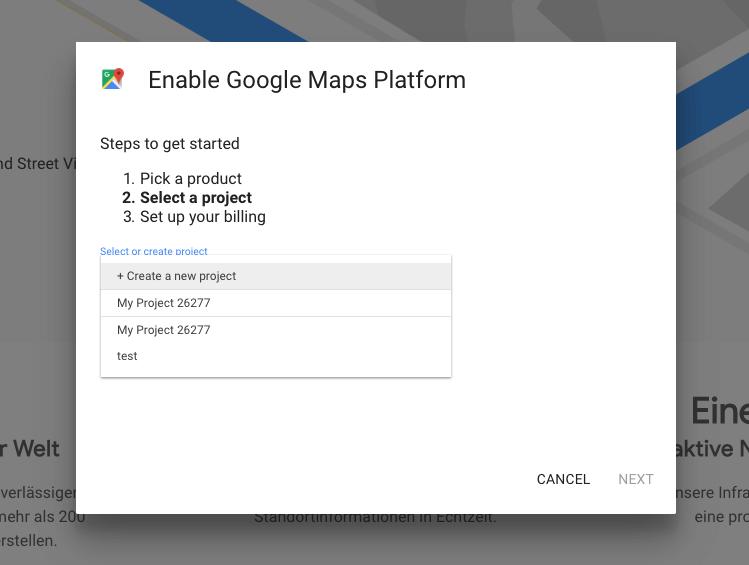 GoogleMaps Projektwahl